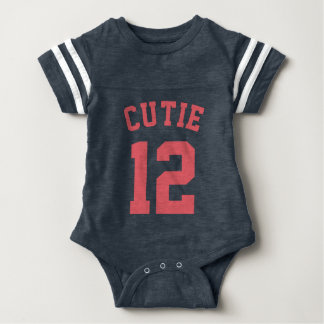 Navy & Coral Baby | Sports Jersey Design Baby Bodysuit