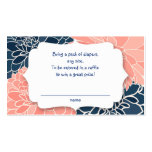 Navy Coral Dahlias diaper raffle tickets - 2 sides Business Card