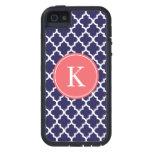 Navy Coral Moroccan Monogram | Apple iPhone 5 Cover For iPhone 5