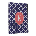 Navy Coral Moroccan Pattern Monogram iPad Folio Case