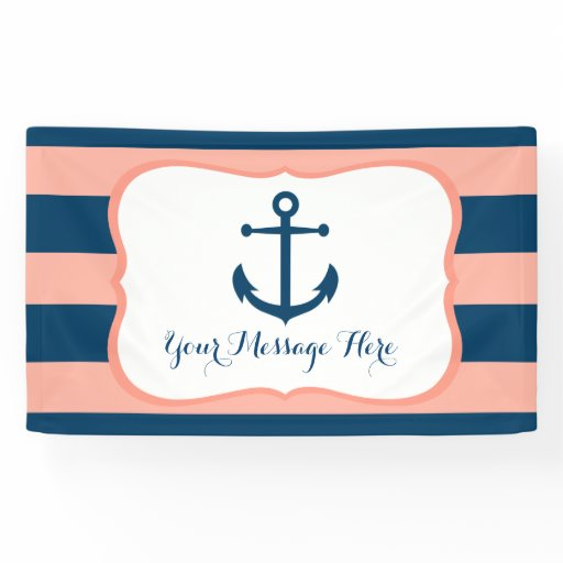Navy & Coral Nautical Anchor Bridal Shower Banner