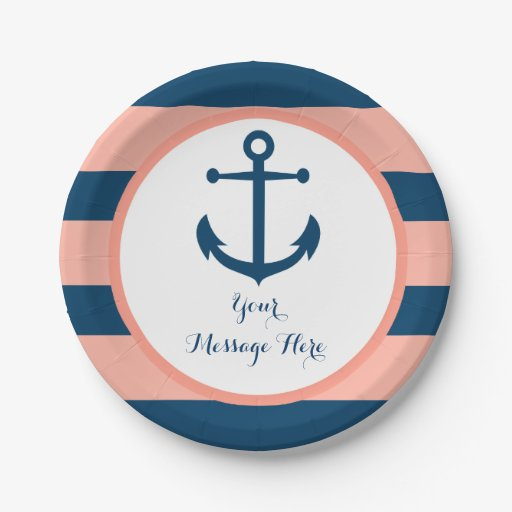 Navy & Coral Nautical Anchor Bridal Shower Paper Plate