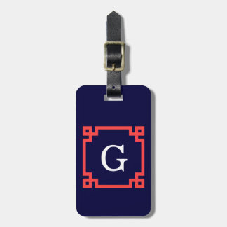 Navy, Coral Red Greek Key Frame #2 Init Monogram Luggage Tag