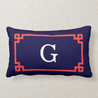 Navy, Coral Red Greek Key Frame #2 Init Monogram Lumbar Pillow