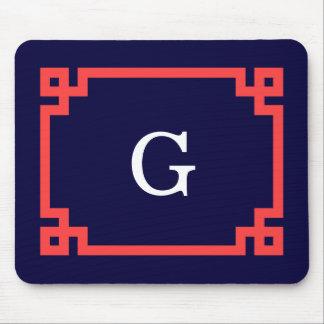 Navy, Coral Red Greek Key Frame #2 Init Monogram Mouse Pad