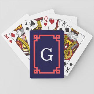 Navy, Coral Red Greek Key Frame #2 Init Monogram Card Decks