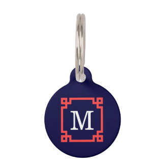Navy, Coral Red Greek Key Frame #2 Init Monogram Pet ID Tag