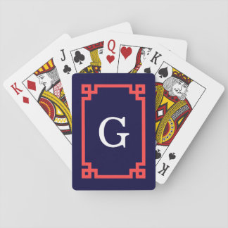 Navy, Coral Red Greek Key Frame #2 Init Monogram Playing Cards