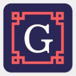 Navy, Coral Red Greek Key Frame #2 Init Monogram Square Sticker