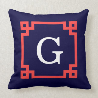 Navy, Coral Red Greek Key Frame #2 Init Monogram Throw Pillow