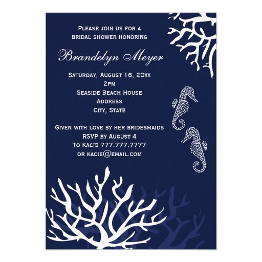 Personalized navy blue bridal shower invitations navy coral reef seahorse bridal shower invitations filmwisefo