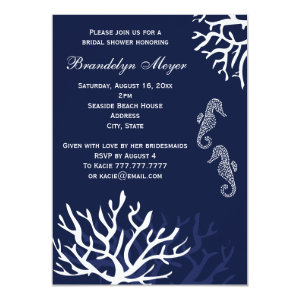 Navy Coral Reef Seahorse Bridal Shower Invitations 4.5