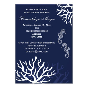 Coral bridal shower invitations announcements zazzle navy coral reef seahorse bridal shower invitations filmwisefo Image collections