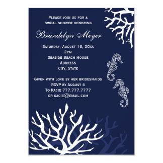 Navy Coral Reef Seahorse Bridal Shower Invitations