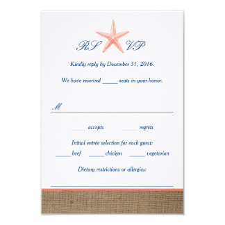 Navy & Coral Starfish Beach Wedding RSVP Cards