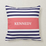Navy Coral Stripes Monogram Pillow
