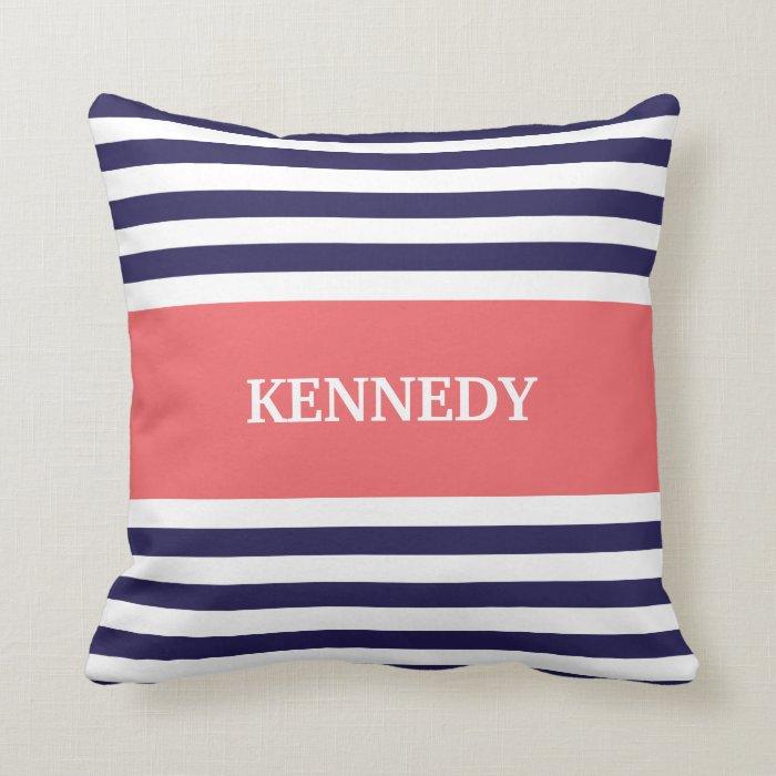 Navy Coral Stripes Monogram Throw Pillow Zazzle