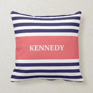 Navy Coral Stripes Monogram Throw Pillow