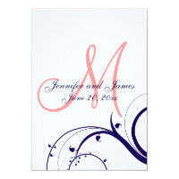 Navy Coral Swirl Monogram Wedding Invitation