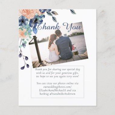 Navy Coral THANK YOU PHOTO Wedding