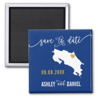 Navy Costa Rica Wedding Save the Date Map Magnet