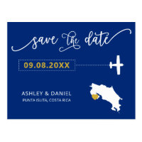 Navy Costa Rica Wedding Save the Date Map Postcard