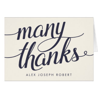 Navy & Cream Calligraphy Personalized Thank You Card