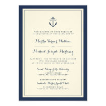 Navy & Cream Monogram Anchor Wedding Invitation