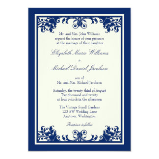 Navy Cream Vintage Flourish Scroll Wedding Card