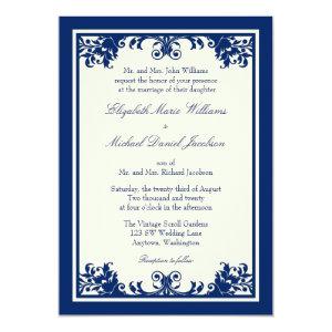 Navy Cream Vintage Flourish Scroll Wedding 5x7 Paper Invitation Card