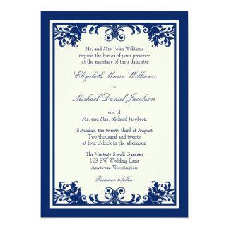Navy Cream Vintage Flourish Scroll Wedding Personalized Invite