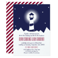 Navy & Crimson | Lighthouse Wedding Invitation