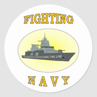 NAVY CROSSING LINE CLASSIC ROUND STICKER