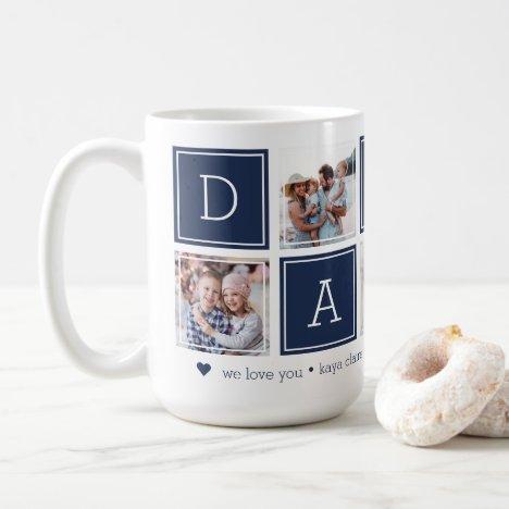 Navy | Custom Daddy 5 Photo Colorblock Collage Coffee Mug
