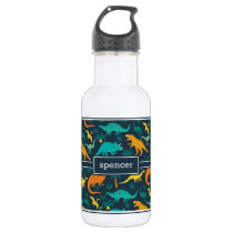 Navy | Cute Colorful Dinosaur Pattern Kids Name Stainless Steel Water Bottle