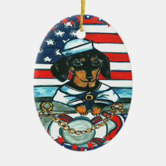 NAVY DACHSHUND CERAMIC ORNAMENT