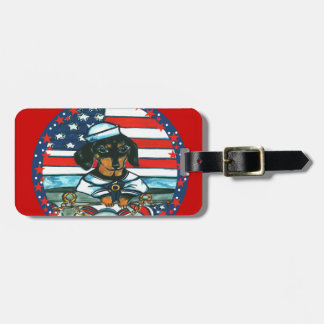 NAVY DACHSHUND TAGS FOR LUGGAGE