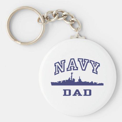 Navy Dad Basic Round Button Keychain