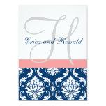"Navy Damask Coral Monogram Wedding Invitation 5"" X 7"" Invitation Card"