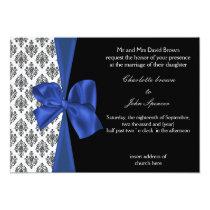 Navy Damask FAUX ribbon design Card