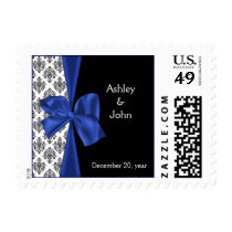 Navy Damask FAUX ribbon design Postage