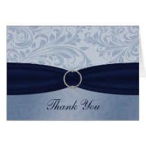 Navy  damask FAUX ribbon diamante buckle Wedding Card