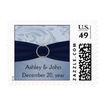 Navy  damask FAUX ribbon diamante buckle Wedding Postage