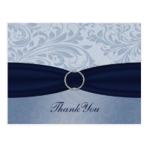 Navy  damask FAUX ribbon diamante buckle Wedding Postcard