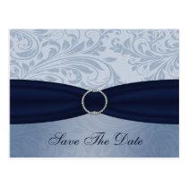 Navy  damask FAUX ribbon diamante buckle Wedding Postcard