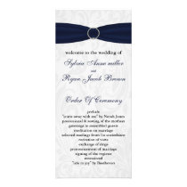 Navy  damask FAUX ribbon diamante buckle Wedding Rack Card