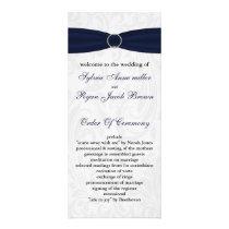 Navy  damask FAUX ribbon diamante buckle Wedding Rack Card