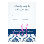 Navy Damask Monogram Wedding RSVP Card