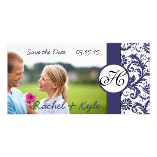 Navy Damask Save the Date Photo Card Template