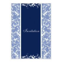 navy Damask  wedding invitation